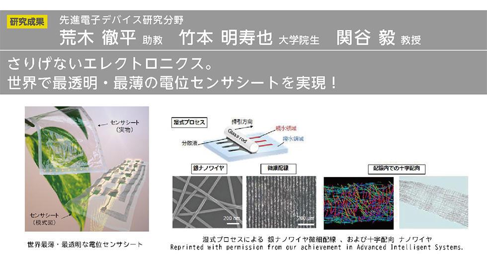 さりげないエレクトロニクス。 世界で最透明・最薄の電位センサシートを実現!