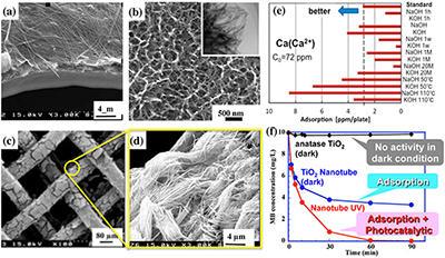 図1(左側コラム) 化学的手法で合成したチタニア(酸化チタン)ナノチューブ(TNT) の構造写真(中央)および構造物性相関に伴う多様な機能の発現