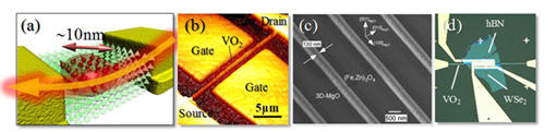(a)ナノ構造酸化物 (ナノ/スピンエレクトロニクス 、(b) 酸化物ナノFET(VO2)、(c) 酸化物ナノヘテロワイヤ(強磁性(Fe,Zn)3O4)、(d)酸化物/原子層物質ヘテロ構造